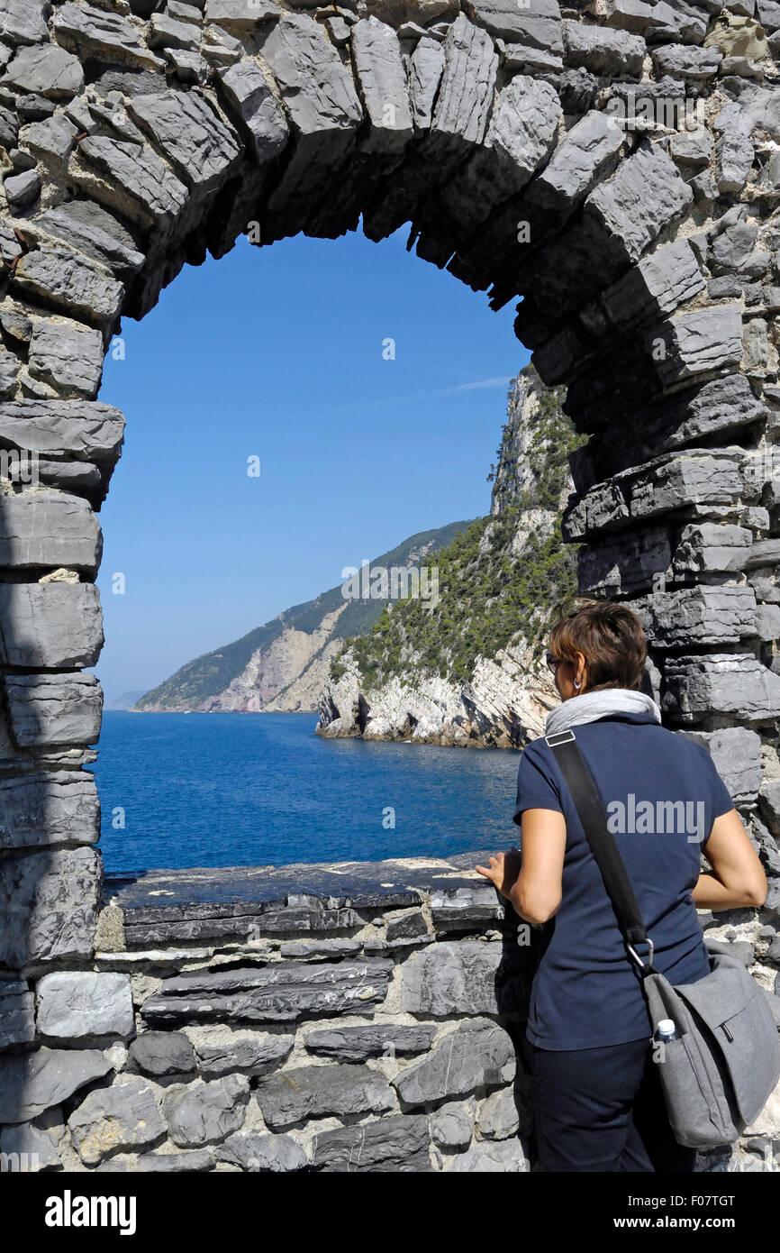 foreshortening on the Portovenere gulf, La Spezia, Ligury, Italy - Stock Image
