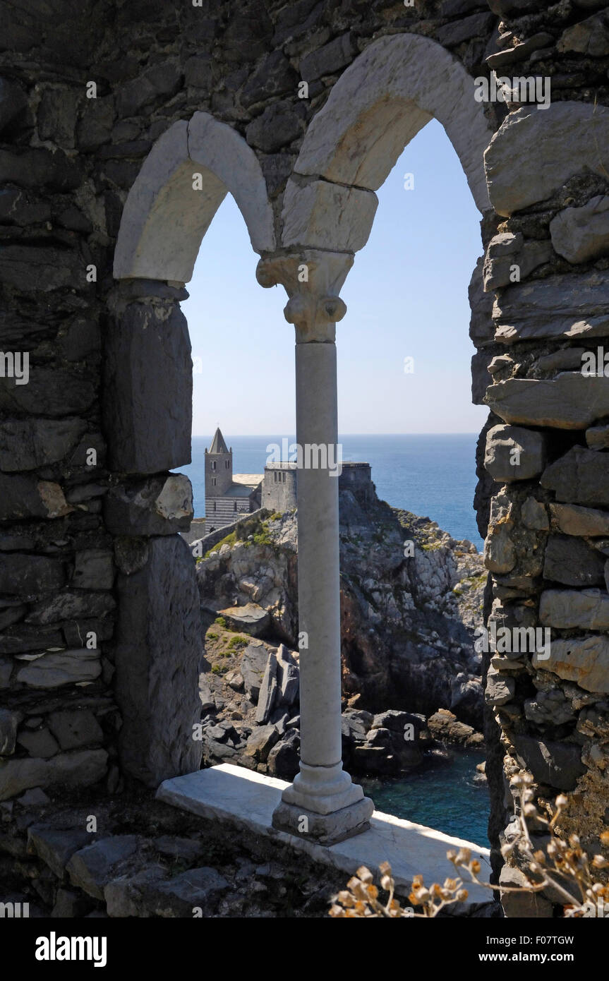 Ligurian coast through a stone window at Portovenere Sea of Liguria Mediterranean Sea Italy - Stock Image