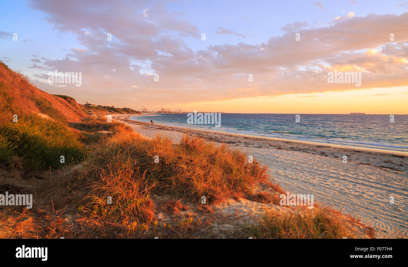 Leighton Beach at sunset, looking down the beach towards Fremantle. Stock Photo