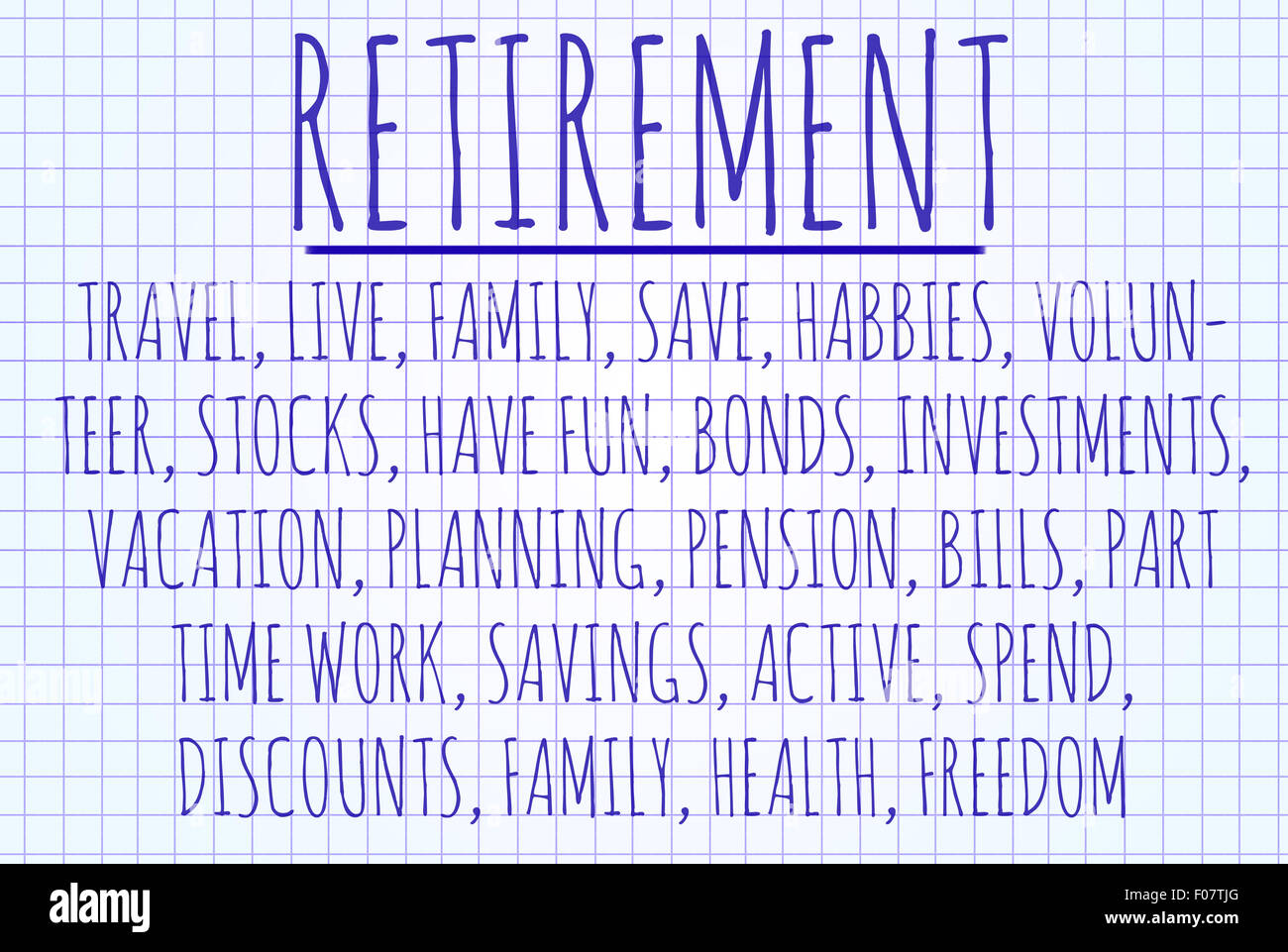 retirement word cloud written on a piece of paper stock photo