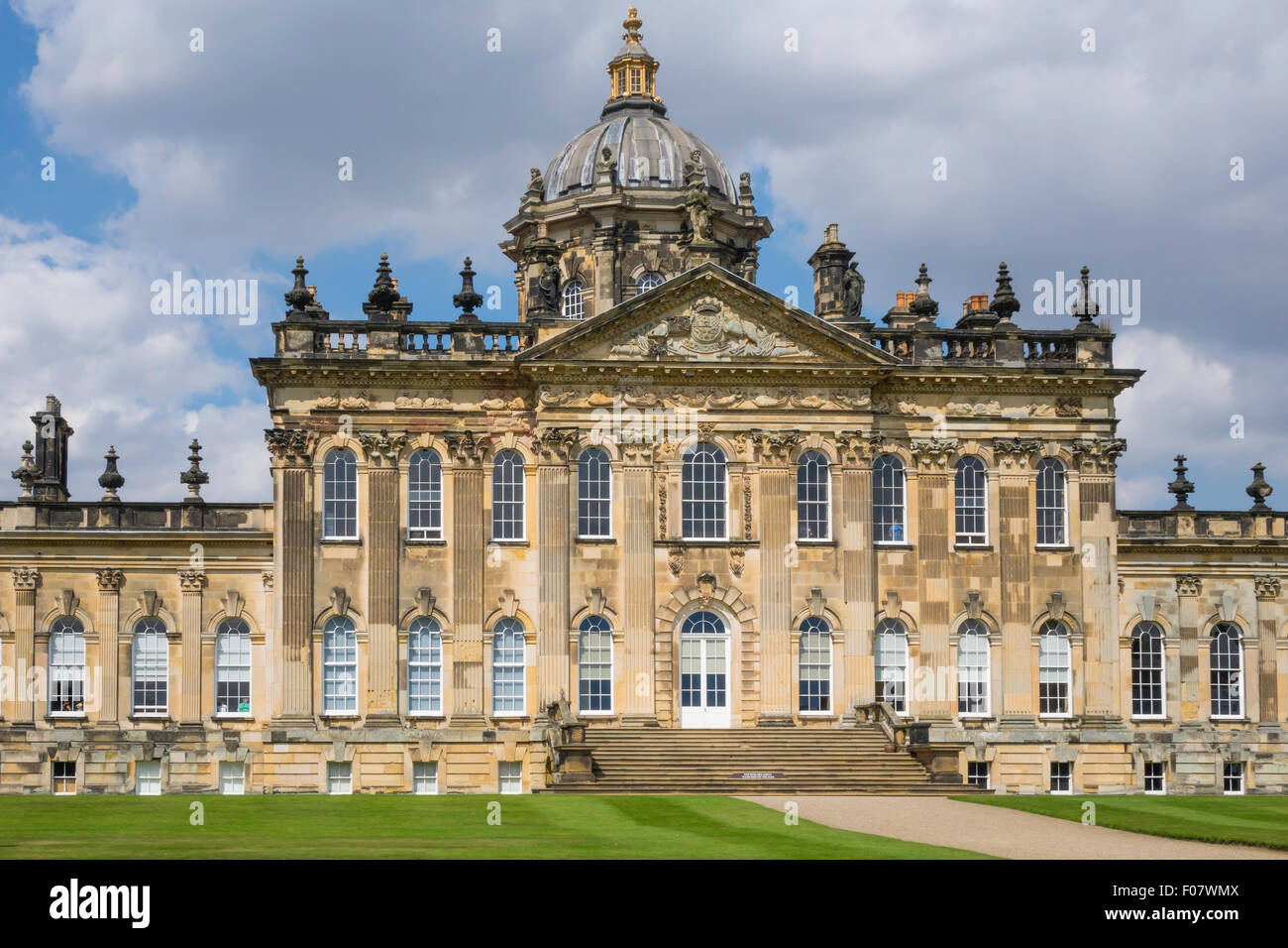South aspect of Castle Howard, stately home of Simon Howard, 'Earl of Carlisle', near Malton, North Yorkshire, - Stock Image