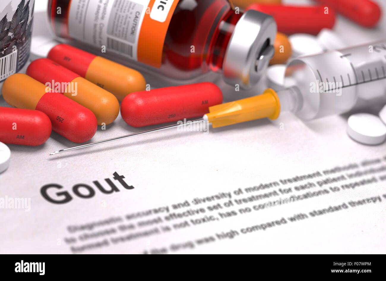 Diagnosis - Gout. Medical Concept. - Stock Image