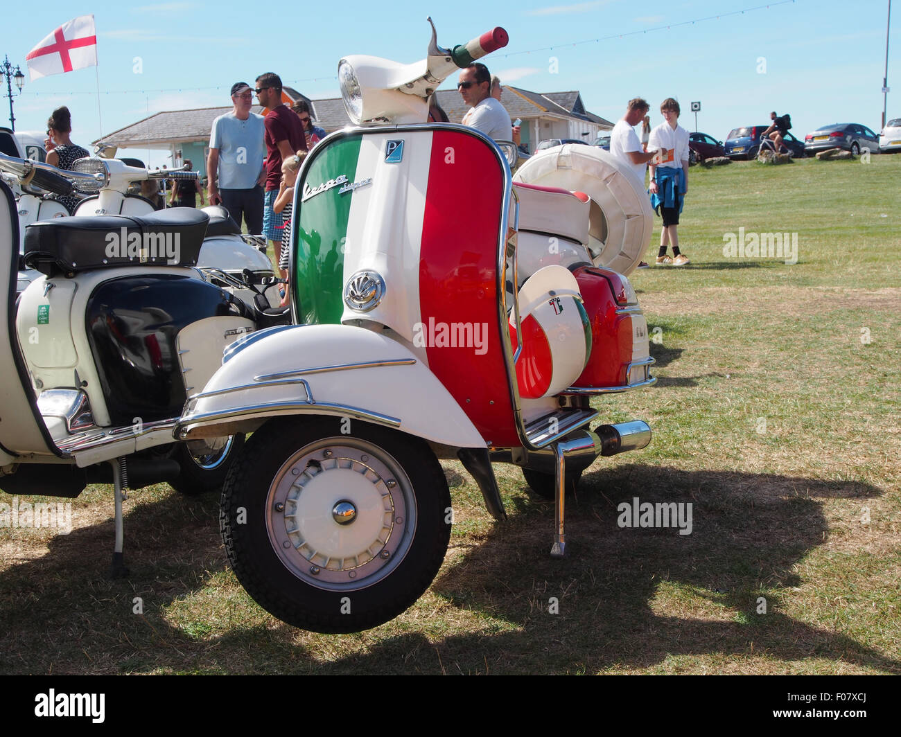 A Vespa Super Scooter painted in the colours of il Tricolore
