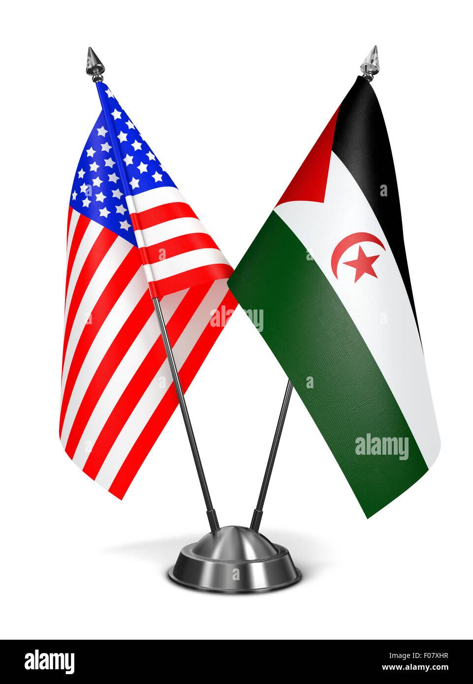 USA and Sahrawi Arab Democratic Republic - Miniature Flags. - Stock Image