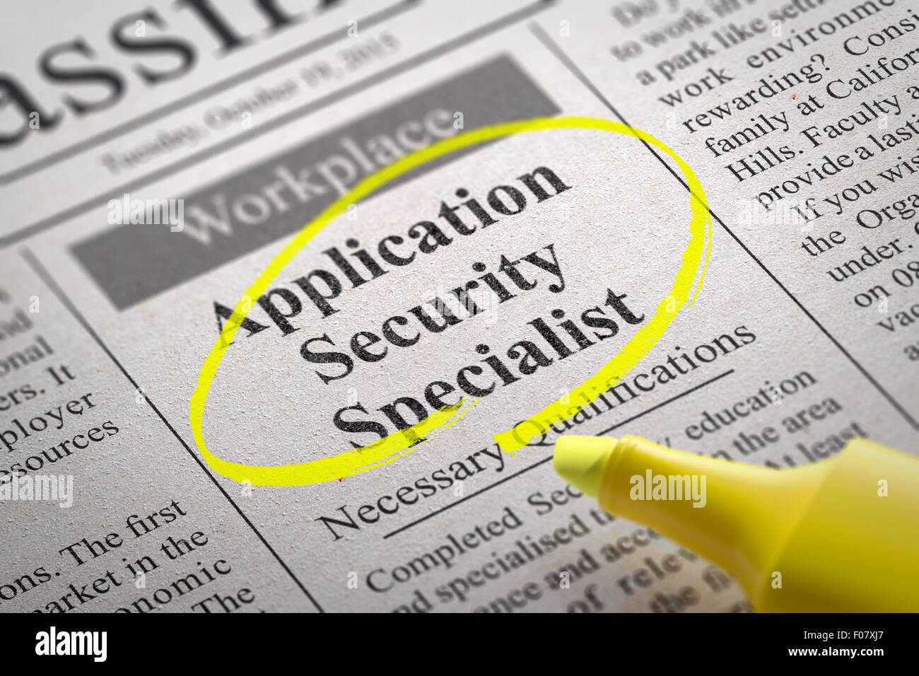 Application Security Specialist Vacancy in Newspaper. - Stock Image