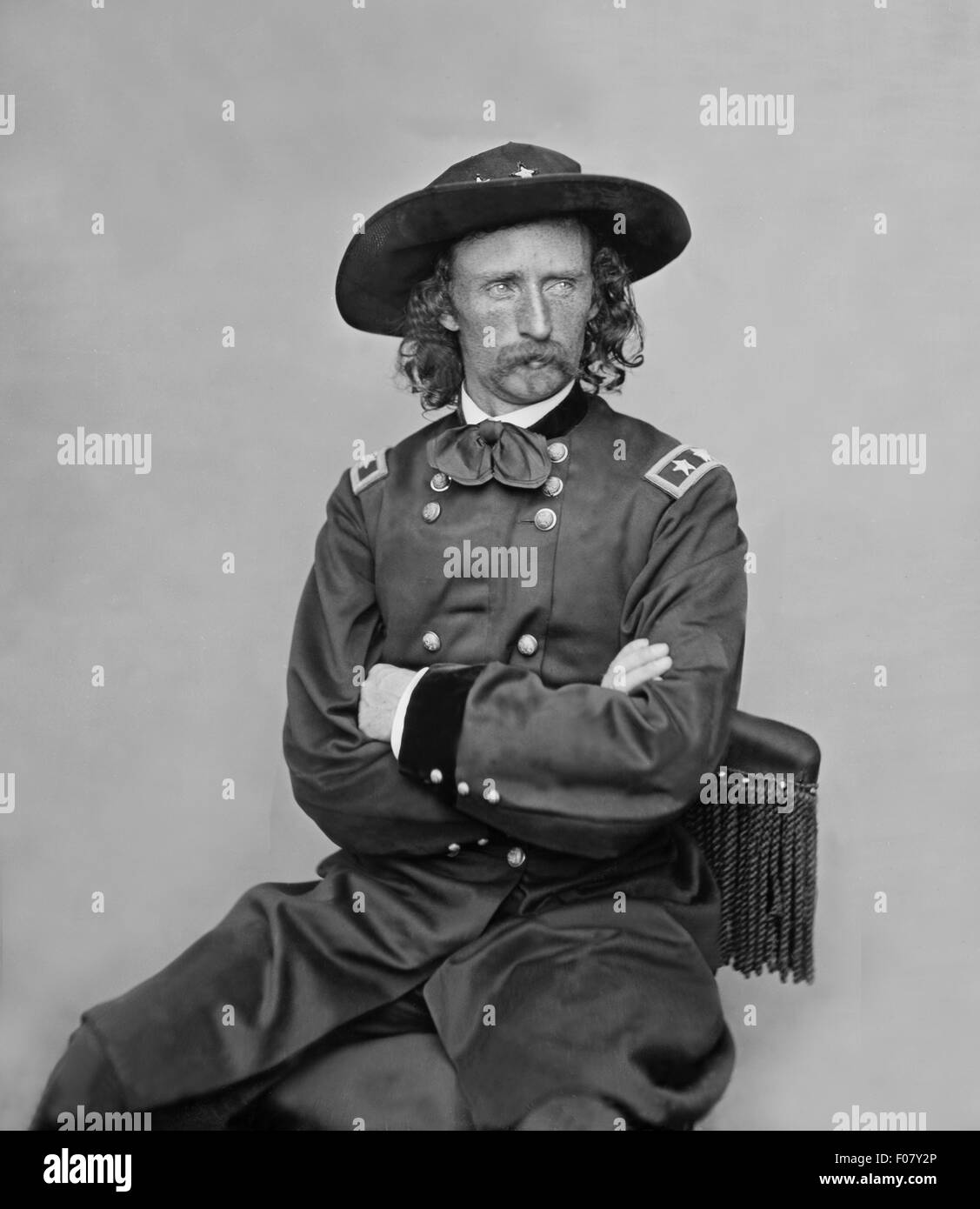 Brevet Major General George Armstrong Custer in field uniform circa 1860 to 1865. Unattributed photograph. - Stock Image