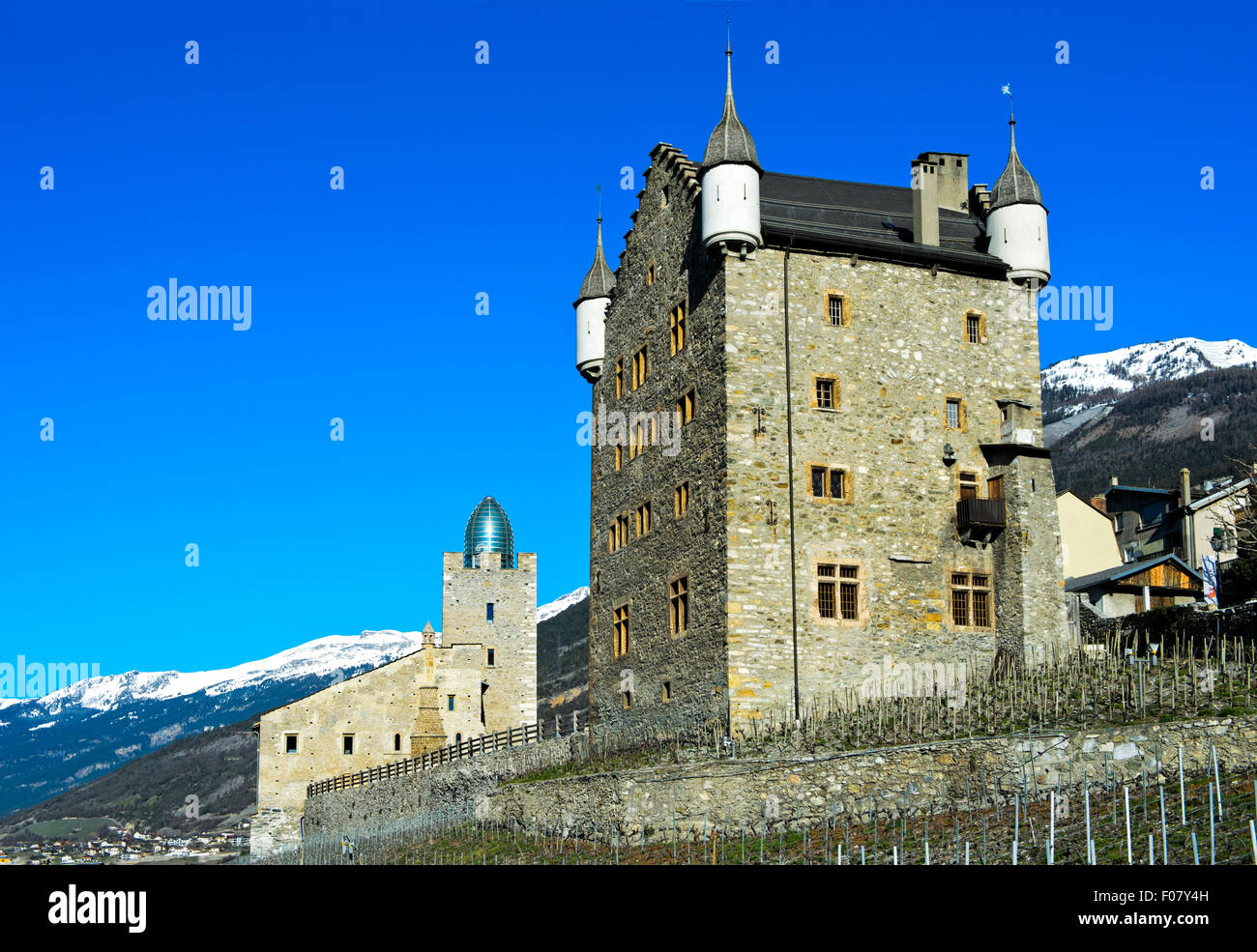 Bishop's castle and town council building, Leuk, Valais, Switzerland - Stock Image