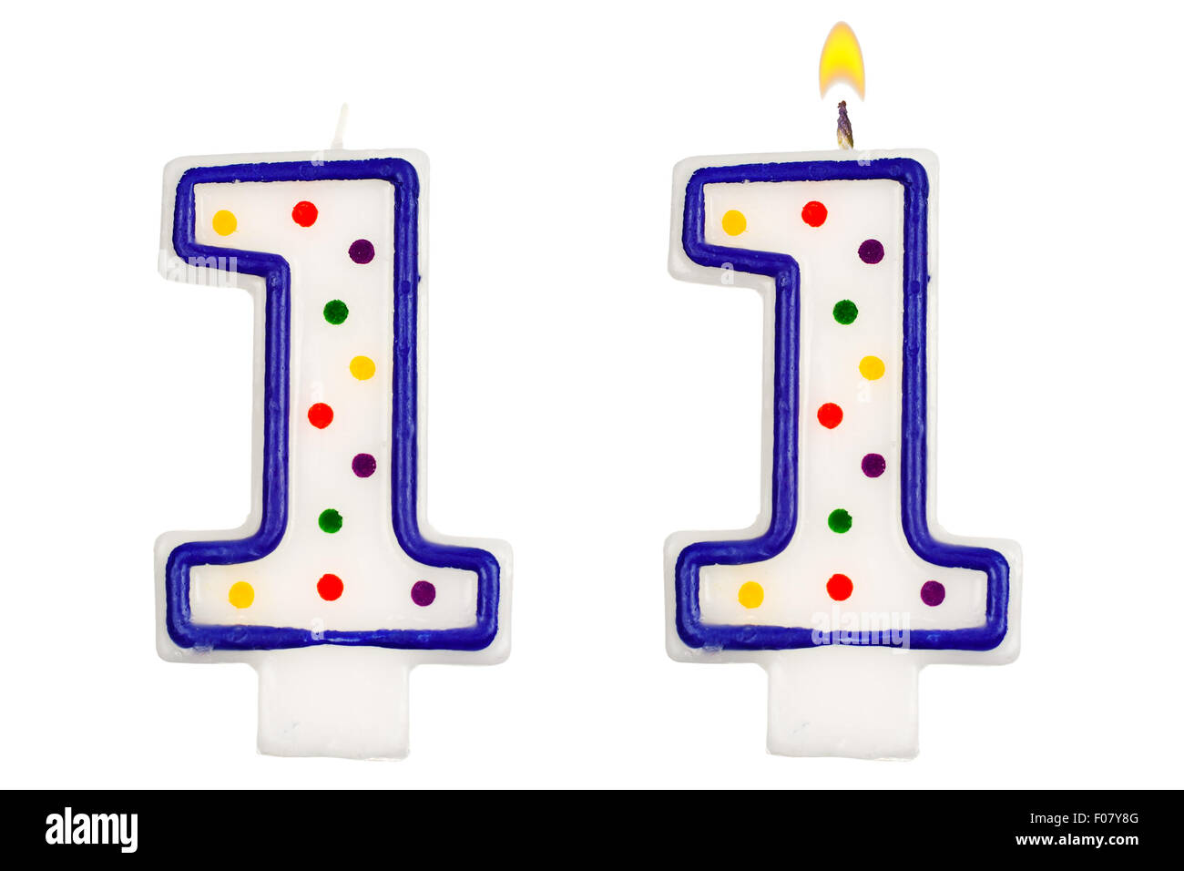 Birthday Candles Number One Isolated On White Background