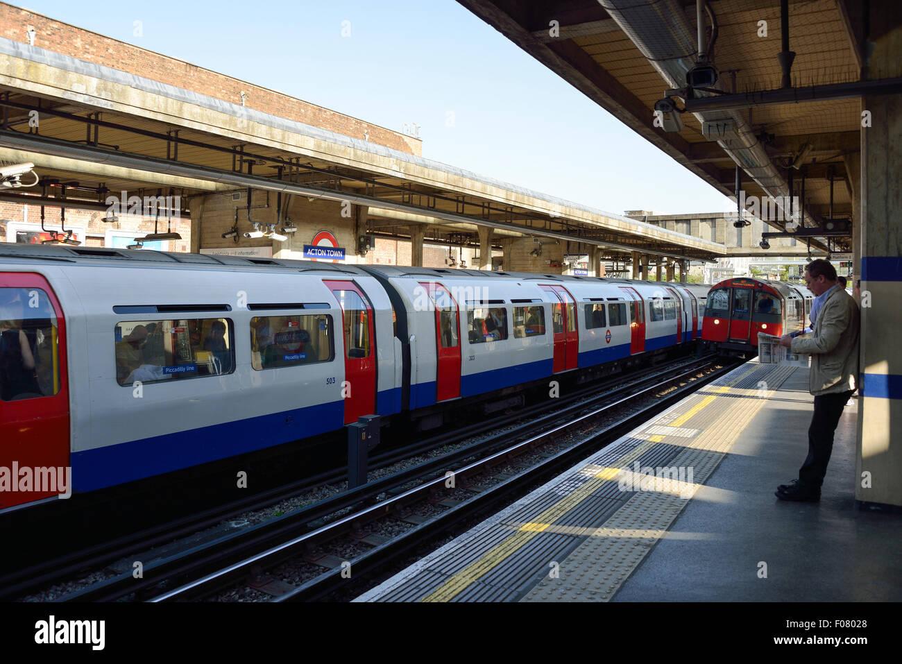 Platform at Acton Town Underground Station, Acton, London Borough of Ealing, London, England, United Kingdom - Stock Image
