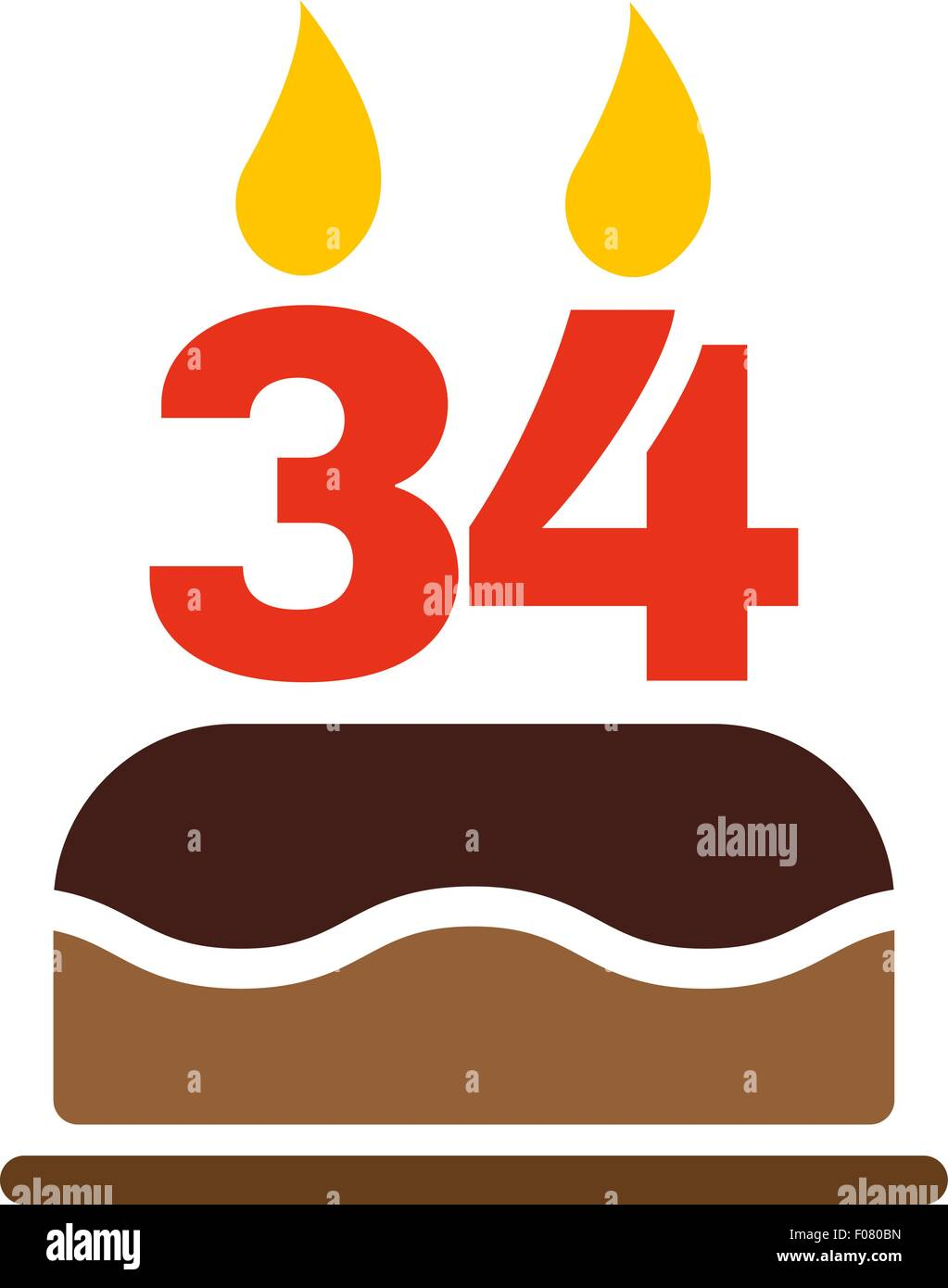 The Birthday Cake With Candles In The Form Of Number 34 Icon Stock