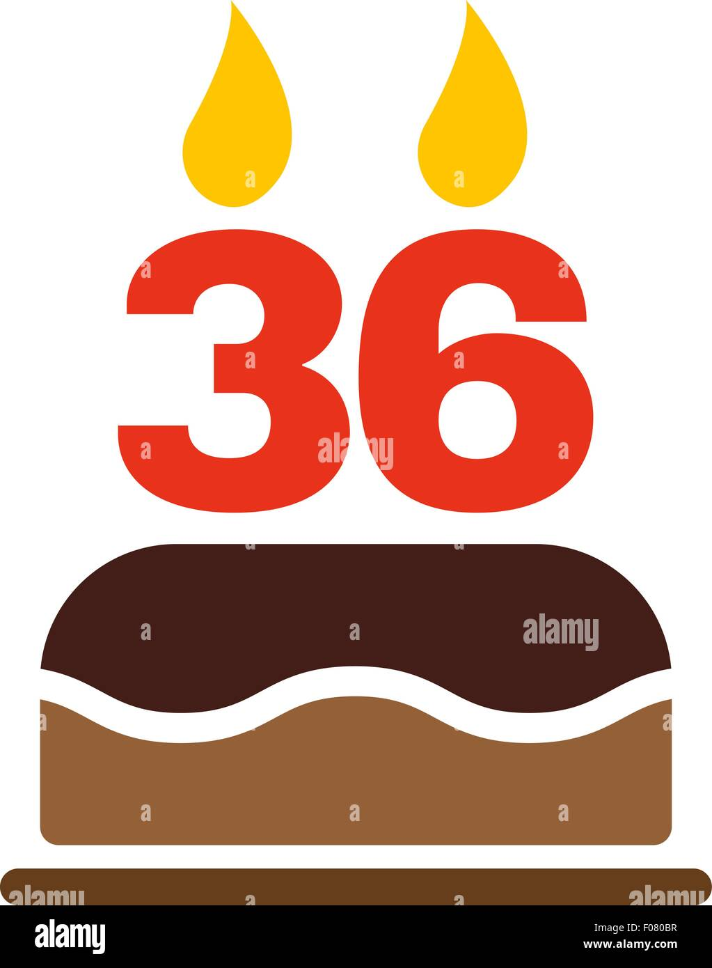 The birthday cake with candles in the form of number 36 icon Stock