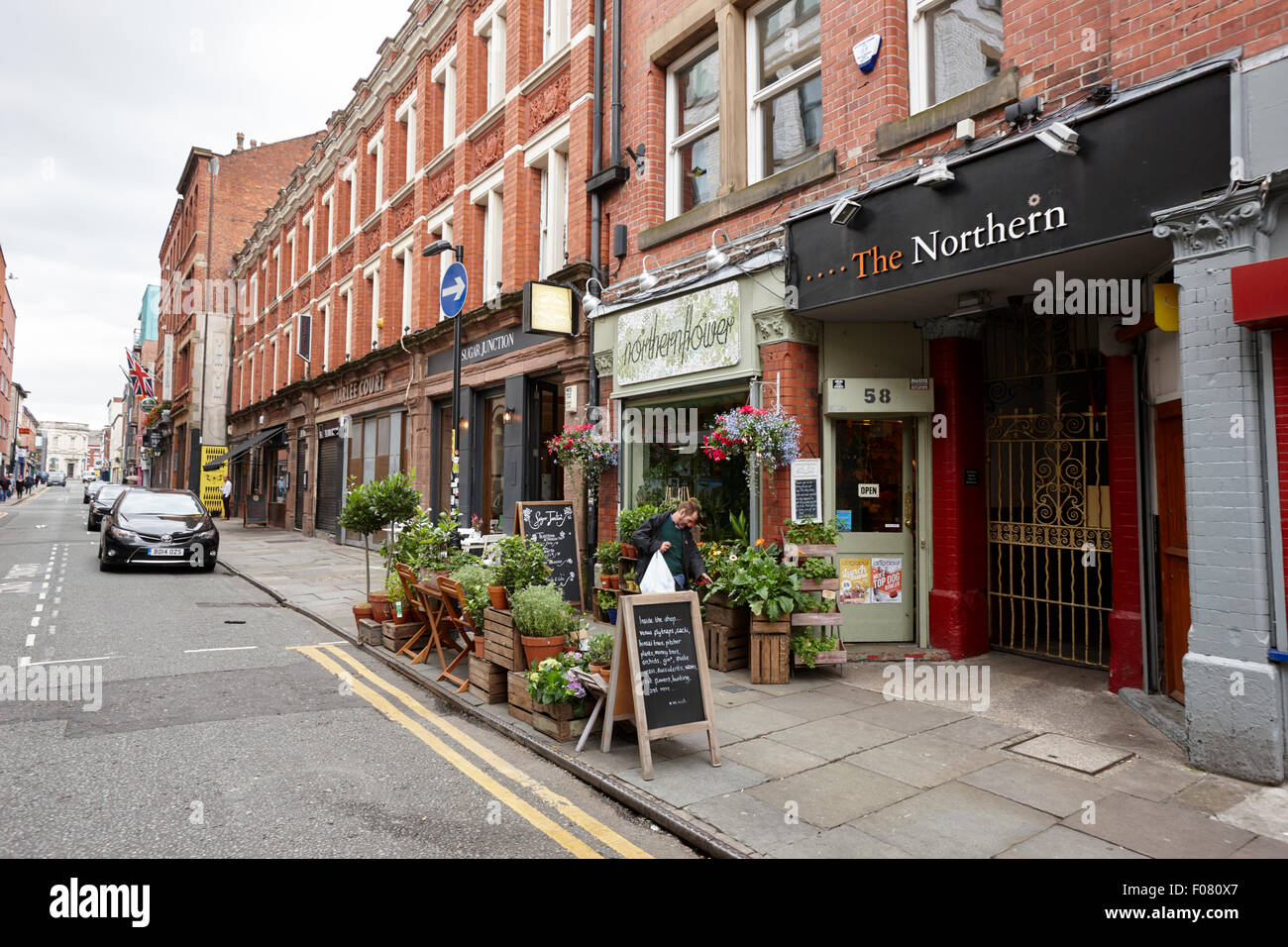 tib street shops in the Northern quarter Manchester uk - Stock Image
