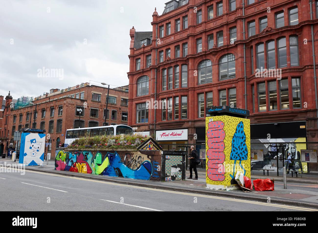 graffiti and street art in stevenson square Northern quarter Manchester uk Stock Photo