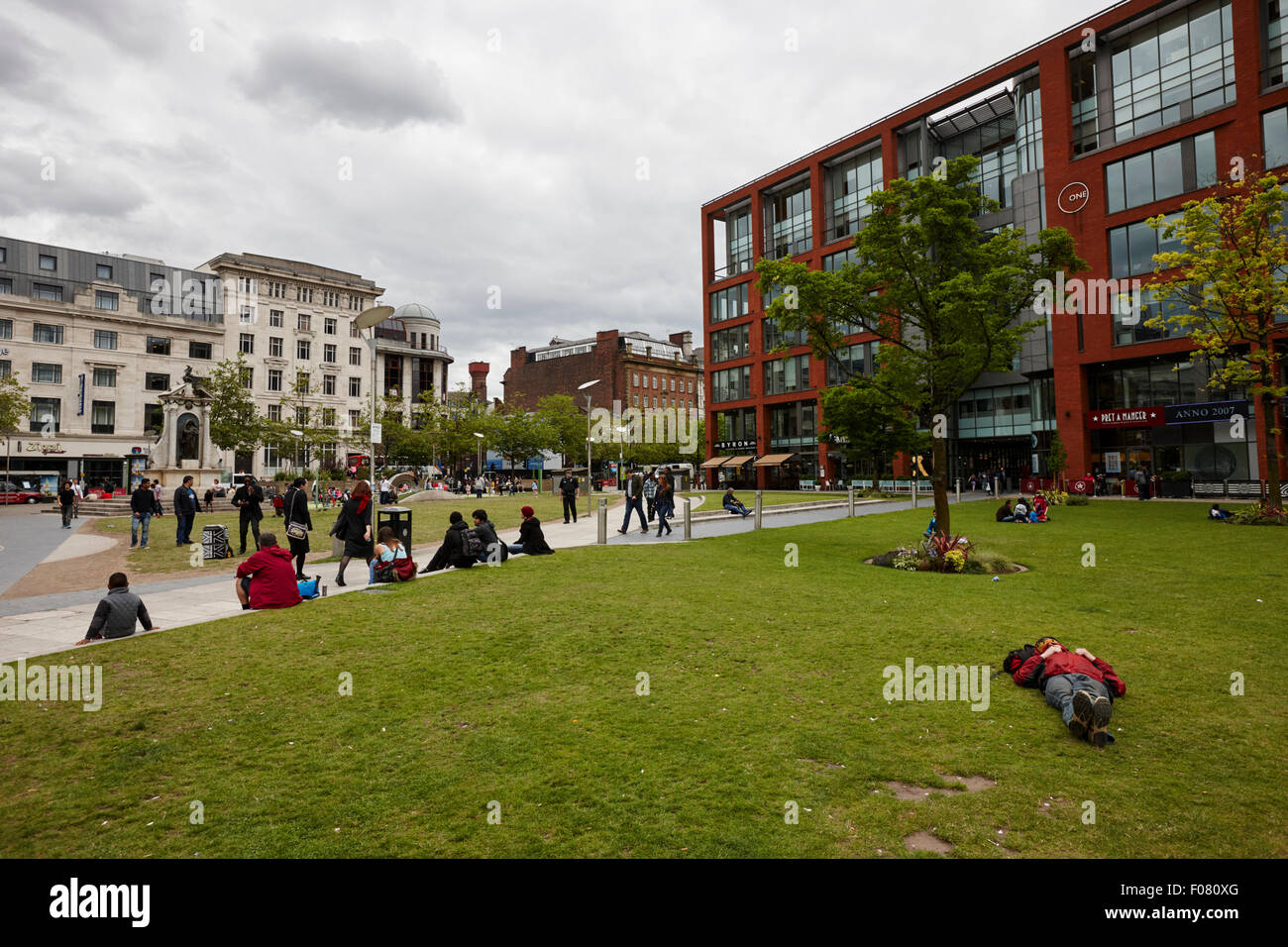 Piccadilly gardens Manchester city centre uk - Stock Image