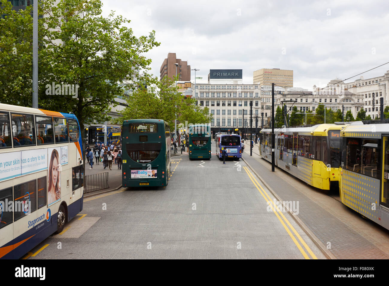 Piccadilly gardens bus station Manchester uk - Stock Image
