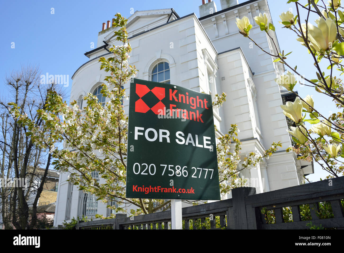 For Sale sign, Albert Terrace, Primrose Hill, London Borough of Camden, Greater London, England, United Kingdom - Stock Image
