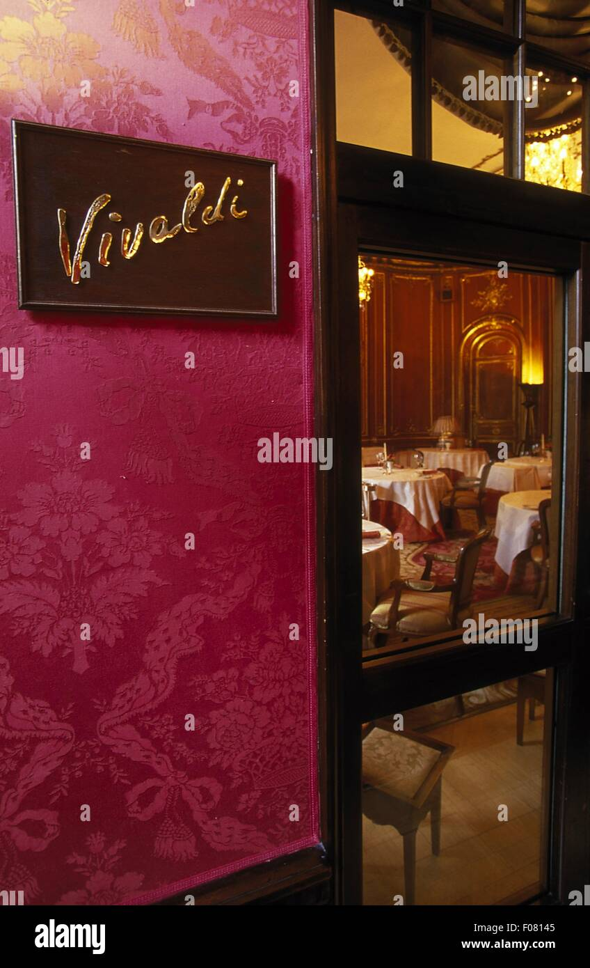 Entrance of Vivaldi restaurant, Ritz - Carlton - Castle Hotel, Berlin, Germany - Stock Image