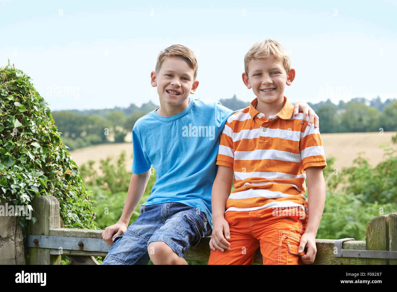 Portrait Of Two Boys Sitting On Gate Together - Stock Image