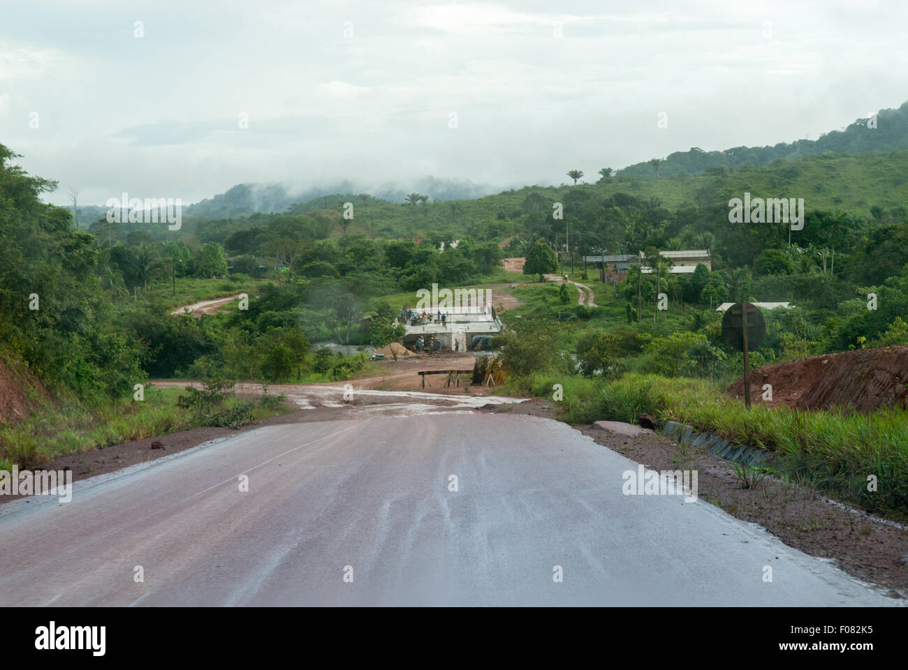 Amazon, Brazil. BR 163 highway, end of Tarmac road. - Stock Image