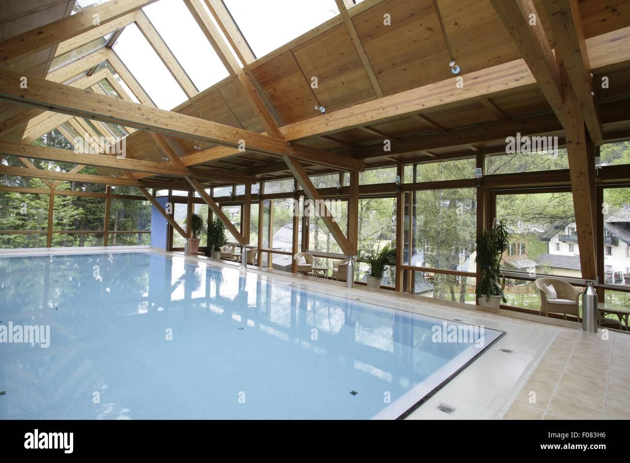 Swimming pool in Hotel Hollweger, Sankt Gilgen, Salzburg, Austria - Stock Image