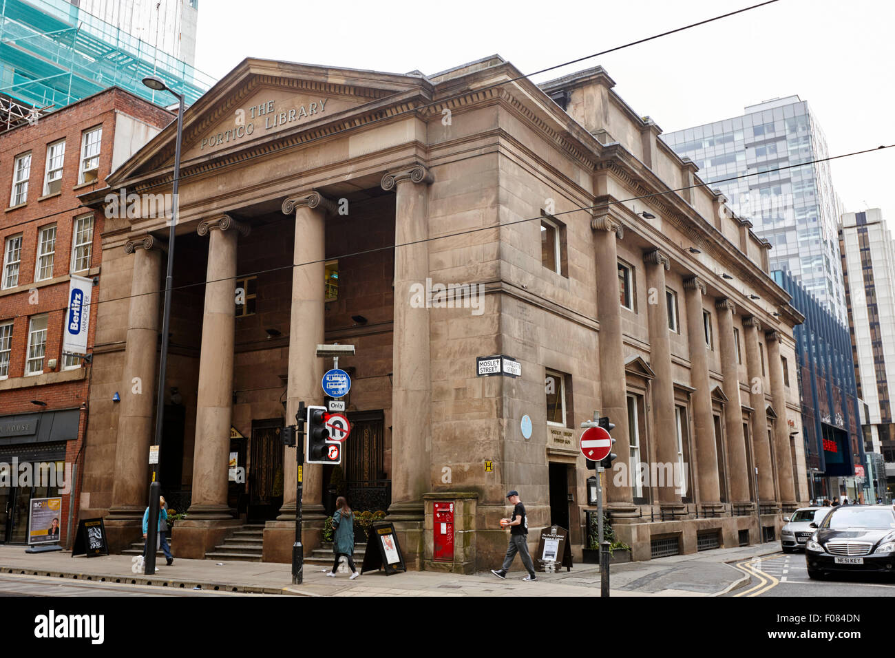 the portico library building Manchester England UK - Stock Image