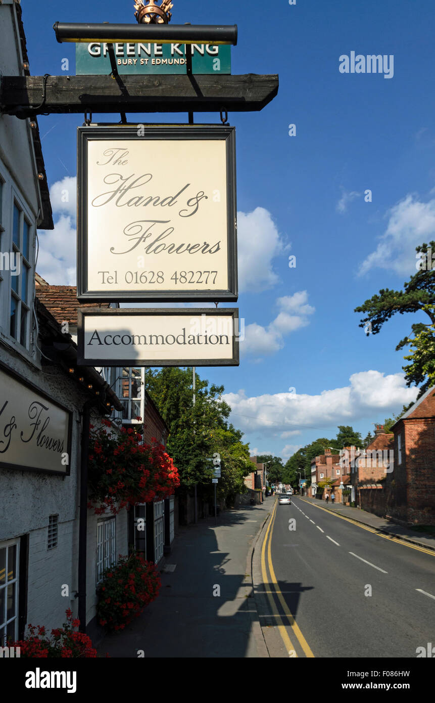 The Two Michelin Star rated restaurant called The Hand and Flowers in Marlow, England, UK. Stock Photo