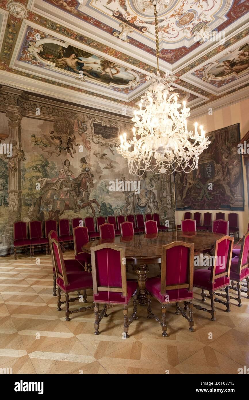 large dining room with chandelier in st emmeram castle in regenburg germany