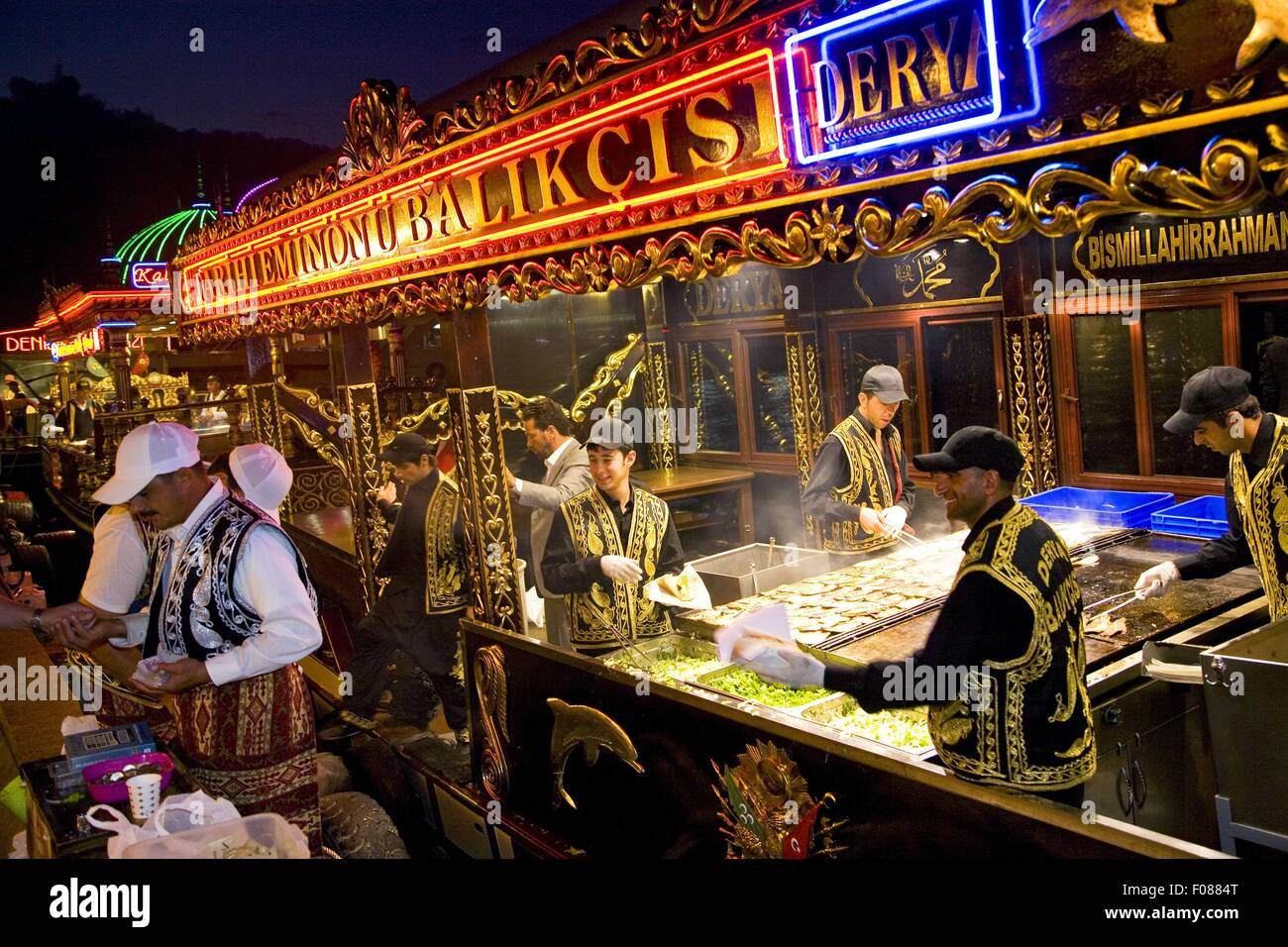 Dealers selling snacks traditionally at night, Istanbul, Turkey - Stock Image