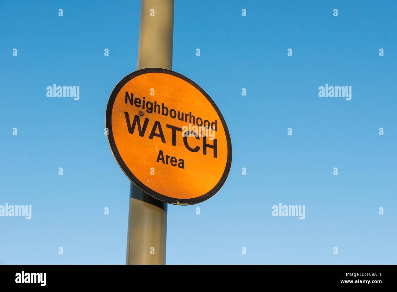 Neighbourhood Watch Area sign on lamppost UK - Stock Image