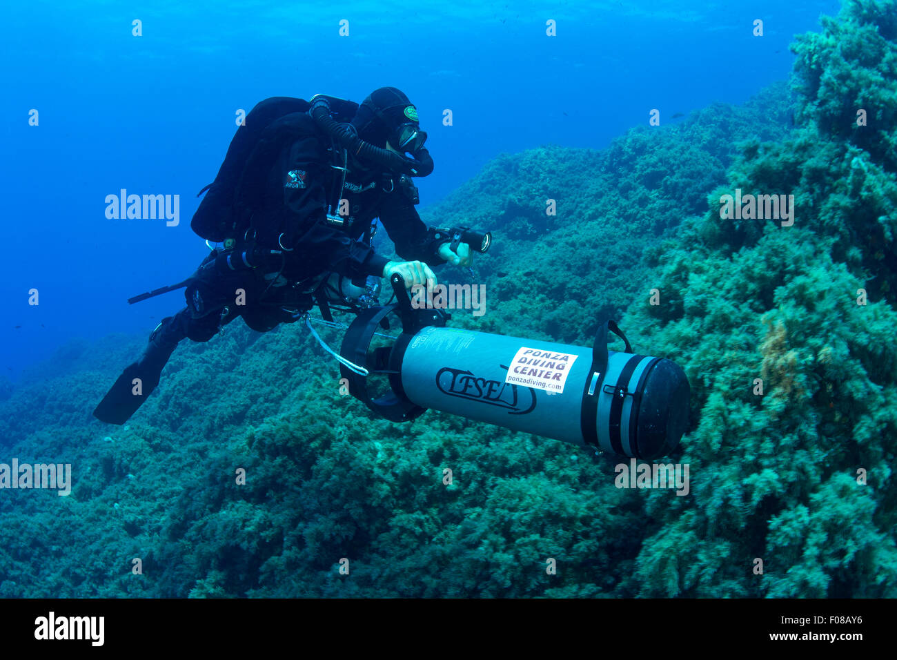 Rebreather Diver with Scooter, Ponza, Italy - Stock Image