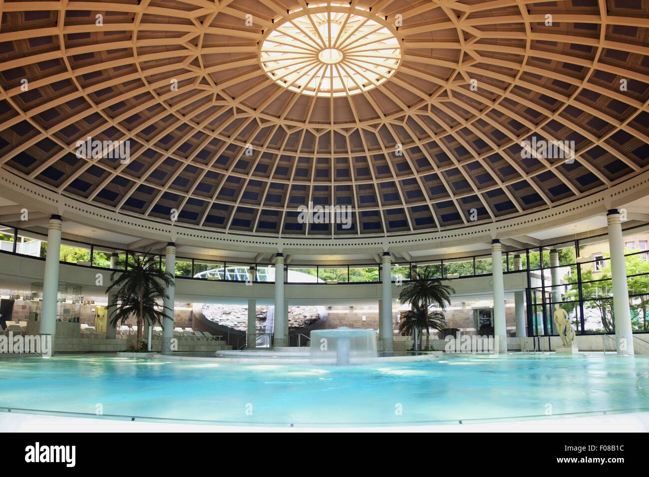 Caracalla Spa Ceiling With Pillars Around Water In Baden Baden, Black Forest,  Germany
