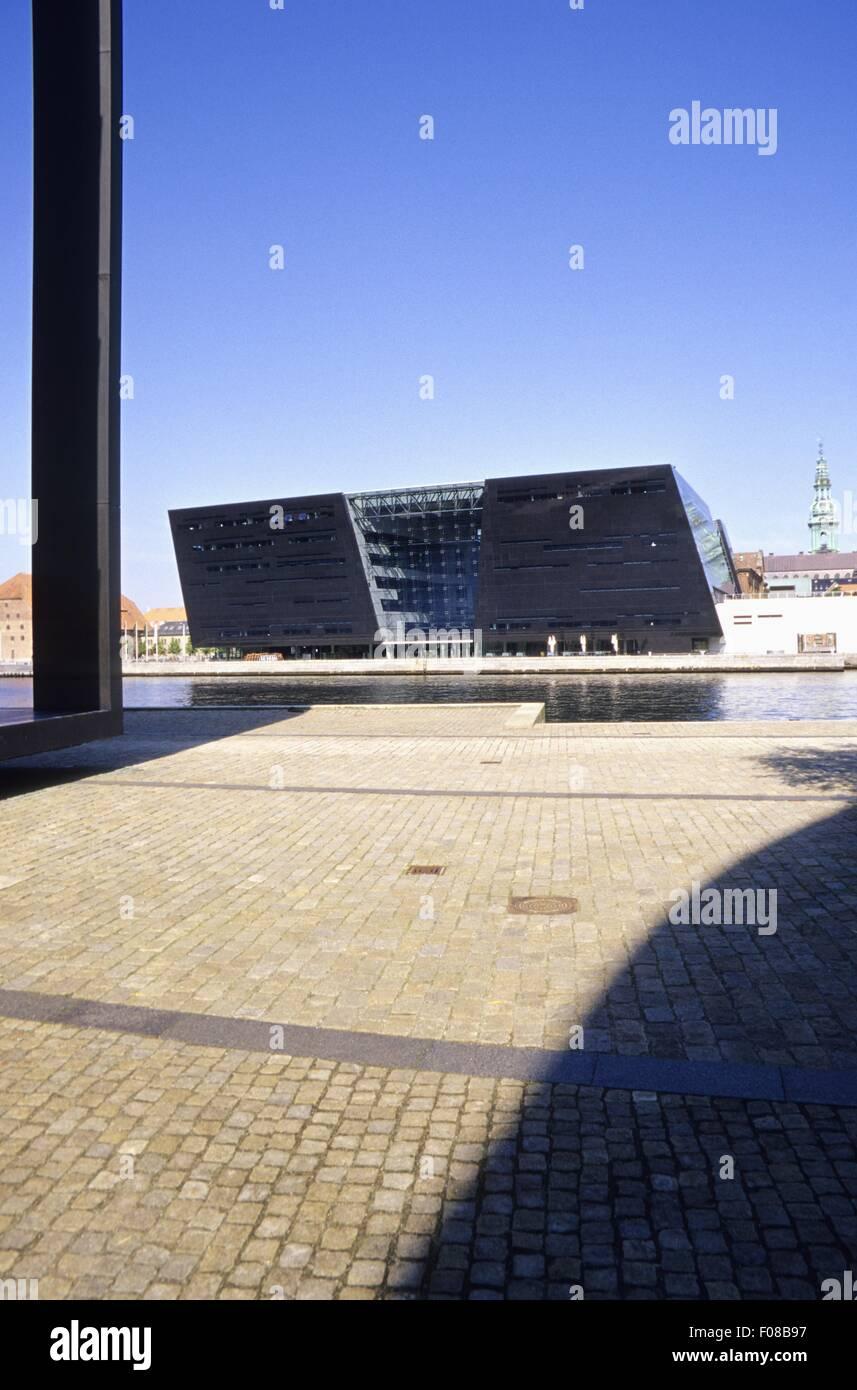 Facade of Black Diamond on Frederiksholms Kanal, Copenhagen, Denmark - Stock Image