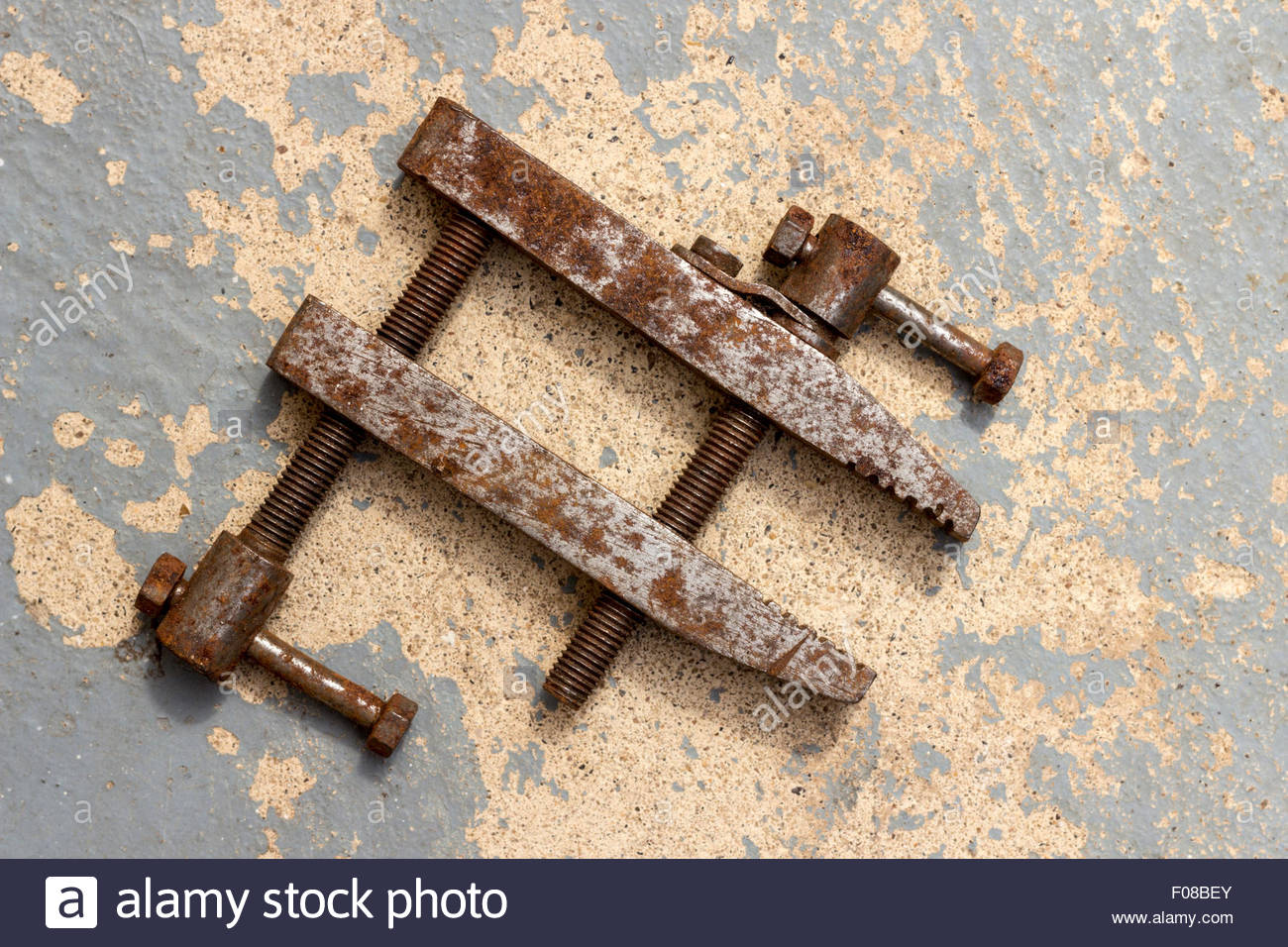 Old and worn adjustable clamp - Stock Image