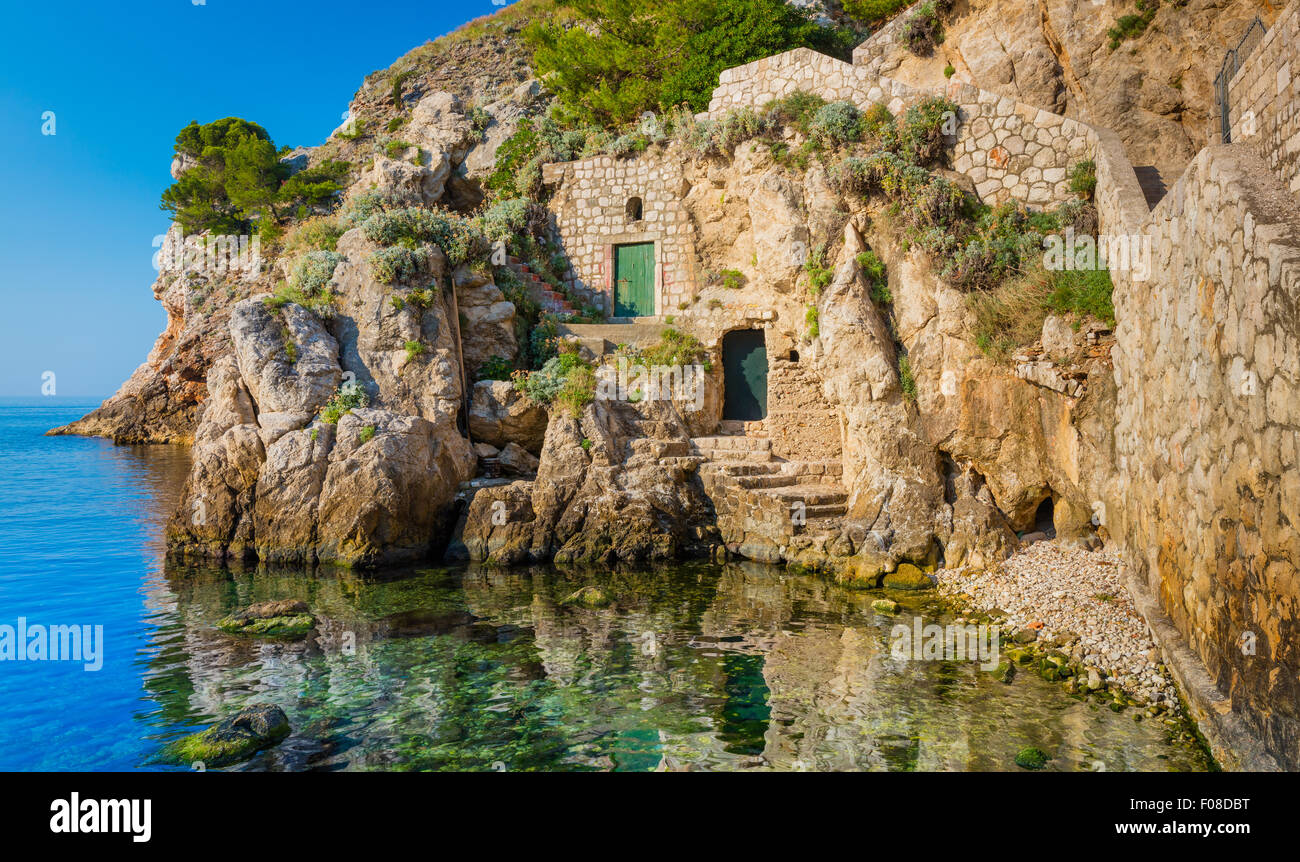 Cove on the waterfront of Dubrovnik, Croatia. Dubrovnik is a Croatian city on the Adriatic Sea, in the region of - Stock Image