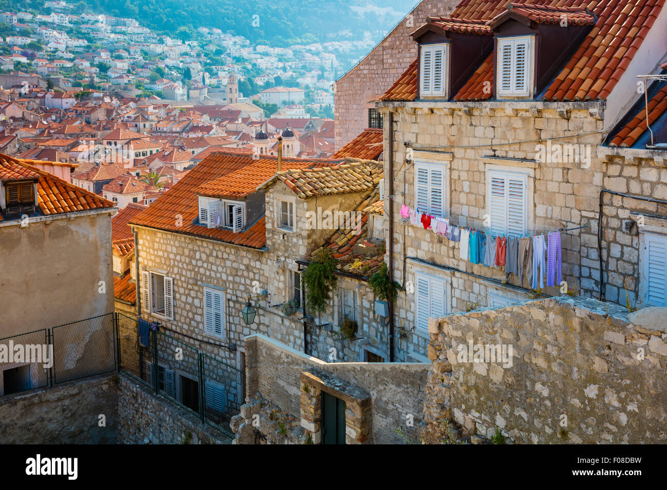 Dubrovnik, Croatia, with its characteristic medieval city walls. Dubrovnik is a Croatian city on the Adriatic Sea. Stock Photo