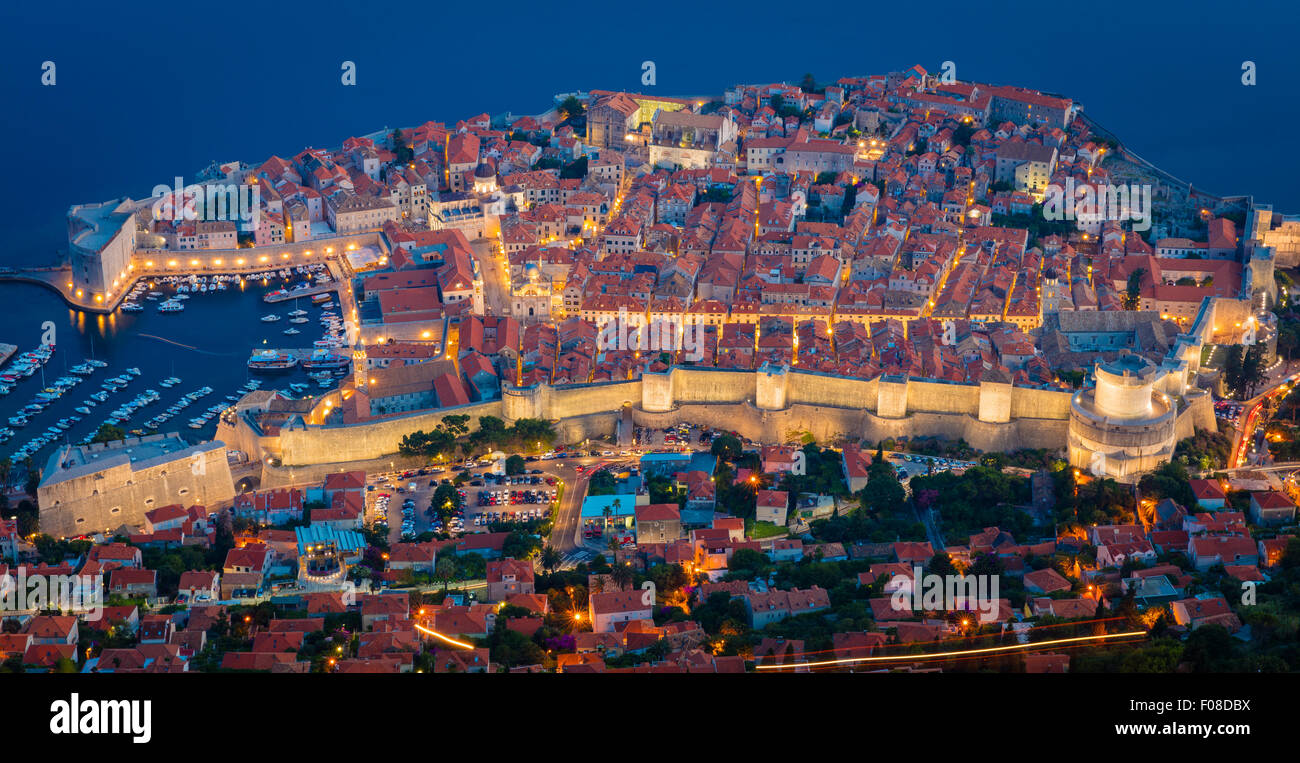 Dubrovnik seen from above.  Dubrovnik is a Croatian city on the Adriatic Sea, in the region of Dalmatia. - Stock Image