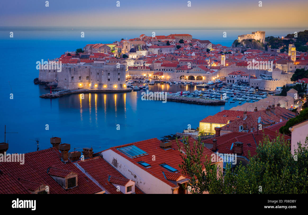 Predawn light over Dubrovnik, Croatia, with its characteristic medieval city walls. - Stock Image