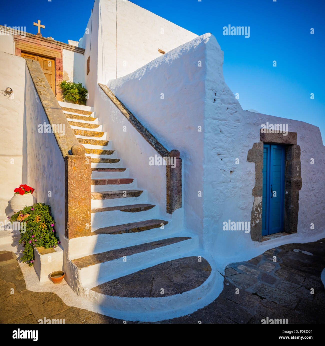 Chapel in the town of Chora on Patmos island in Greece. - Stock Image
