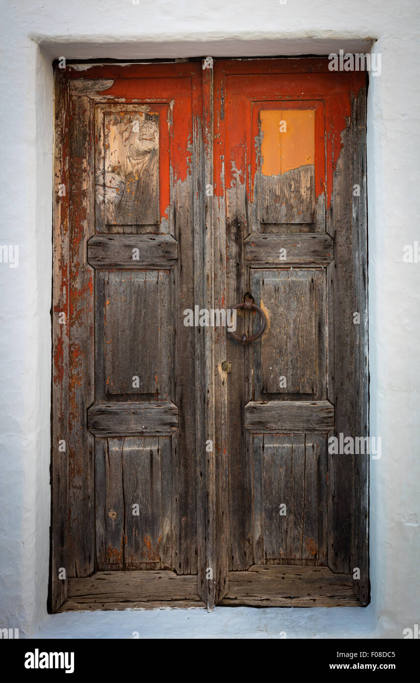 Old door in the town of Chora on Patmos island in Greece. & Old door in the town of Chora on Patmos island in Greece Stock Photo ...