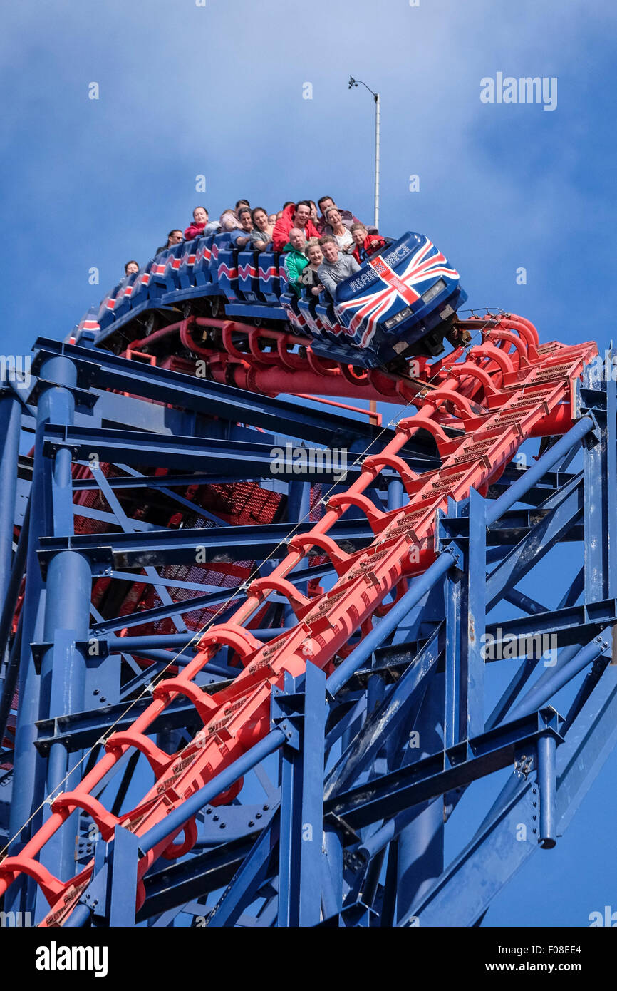 Thrill Seekers on The Big One at Blackpool Pleasure Beach - Stock Image