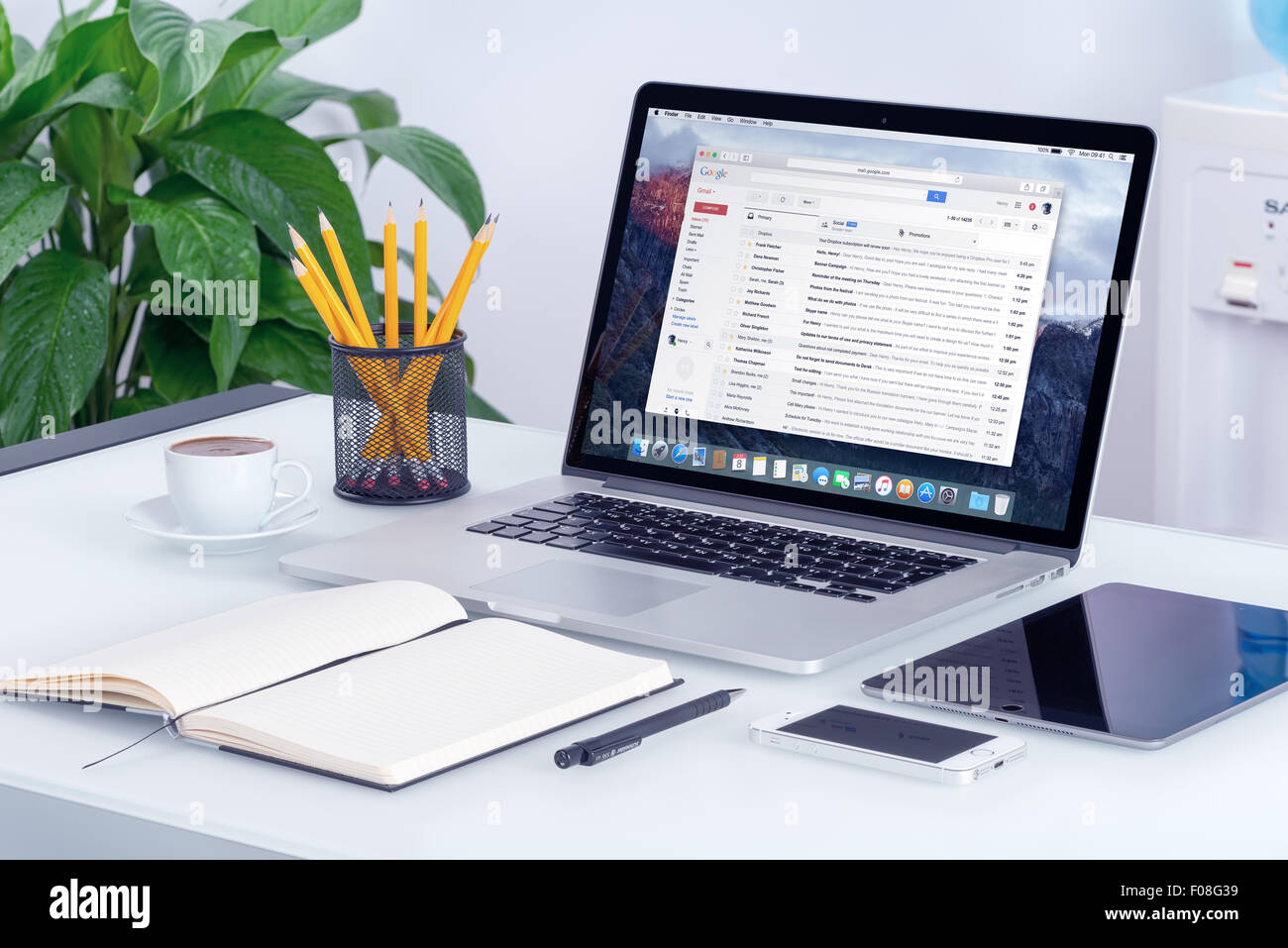 Varna, Bulgaria - May 29, 2015: Google Gmail email inbox interface on the Apple MacBook Pro screen that is on office - Stock Image