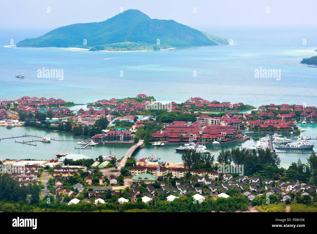 Aerial view of Eden Island Mahe Seychelles. Horizontal shot - Stock Image