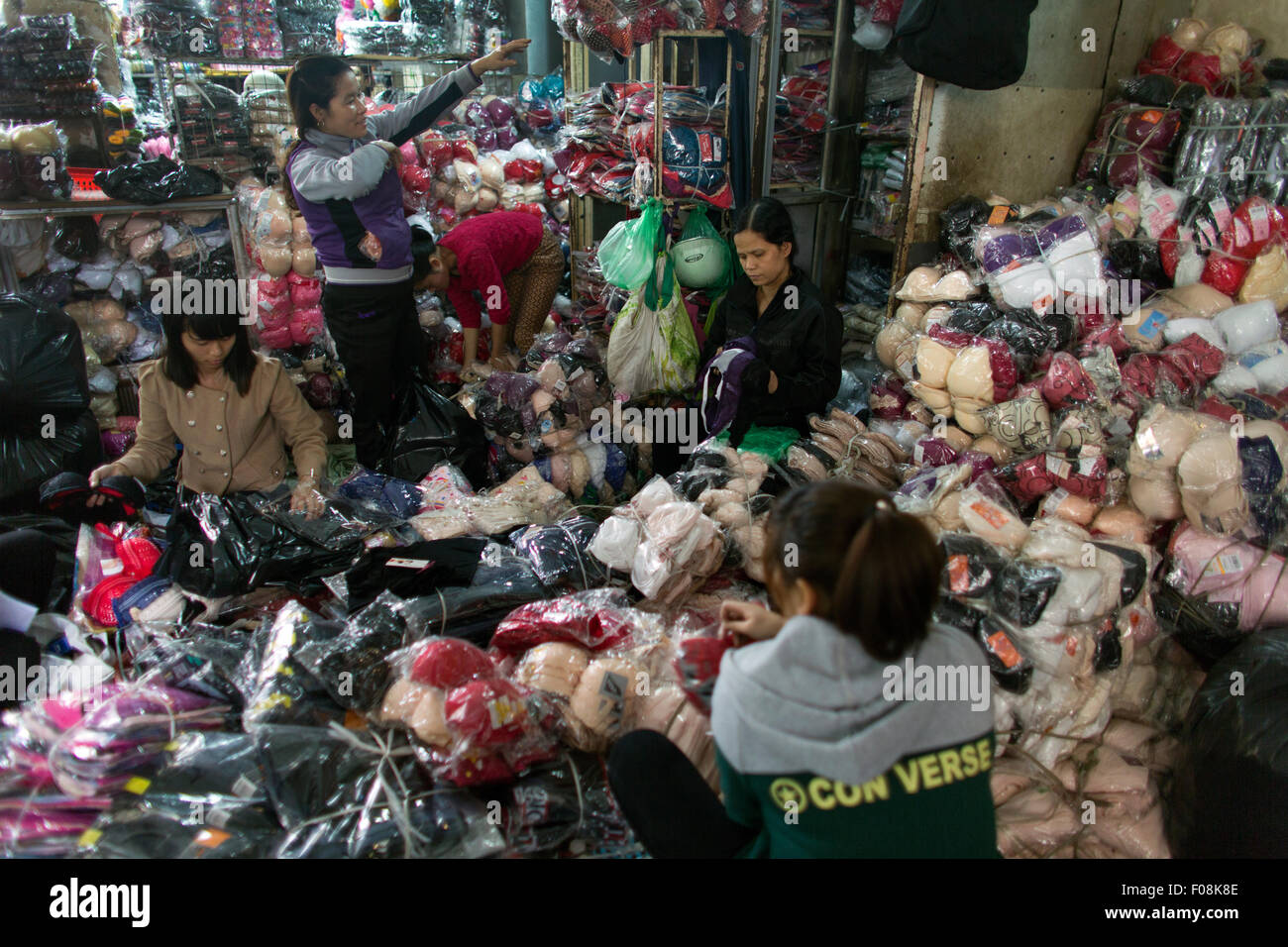 whole sale clothing market in Hanoi - Stock Image
