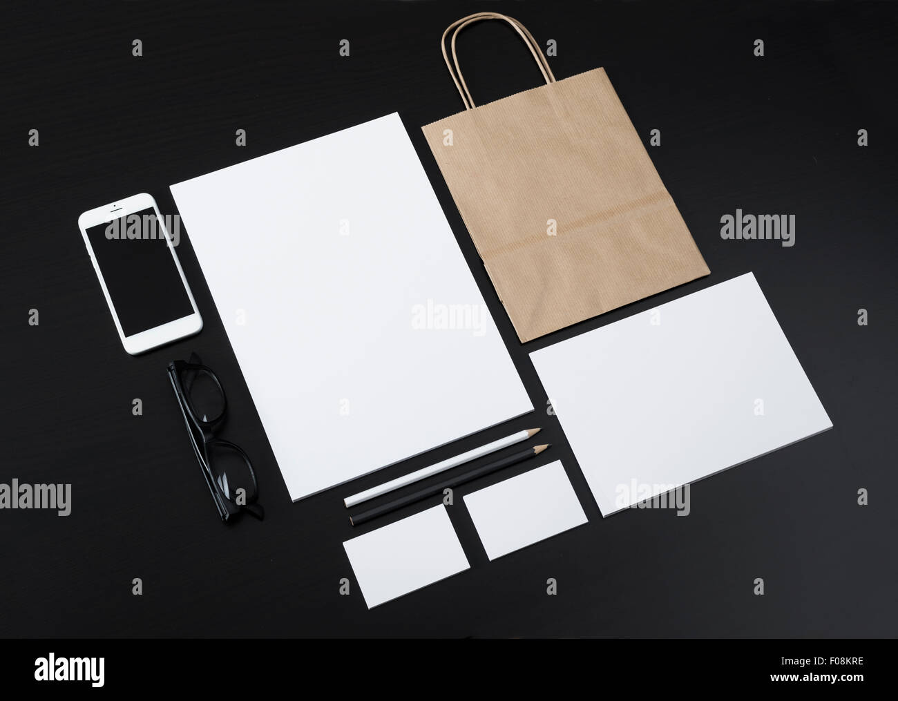 Letterhead and logo design template for shop or restaurant Stock Photo