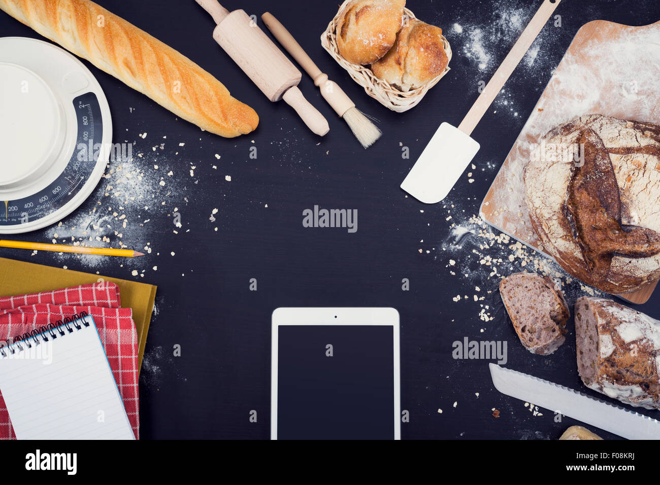 Bakery top view hero header image with copy space - Stock Image