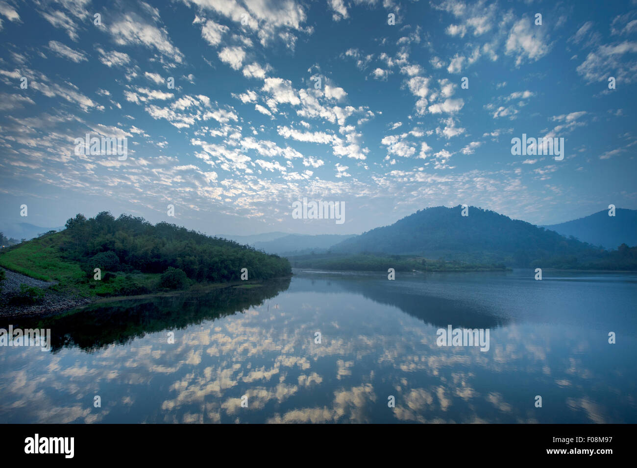 Cloud reflection on Lake Beris in the morning. - Stock Image