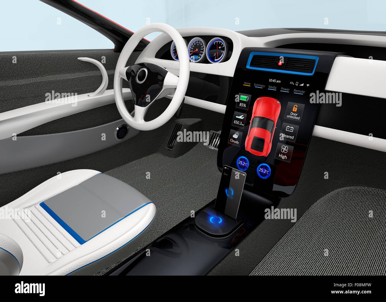 Futuristic Electric Vehicle Dashboard And Interior Design 3d Stock