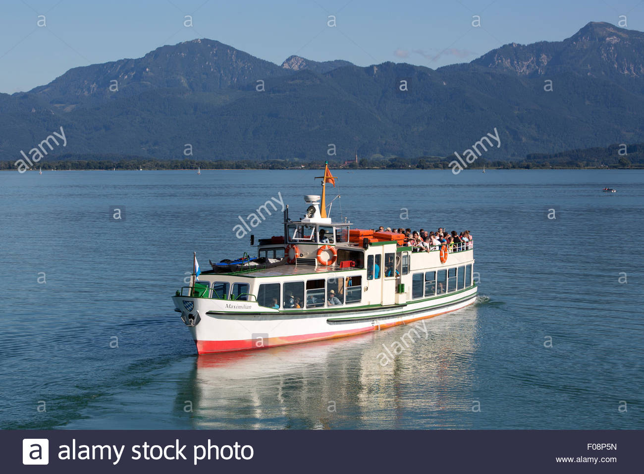 Visitors on a steamship at lake Chiemsee in Bavaria, South Germany - Stock Image