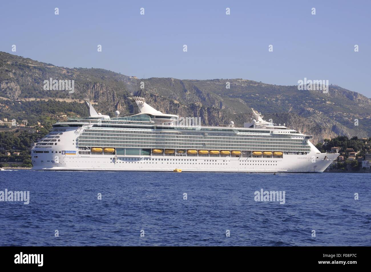 France, French Riviera, cruise ship in the bay of Villefranche sur Mer - Stock Image