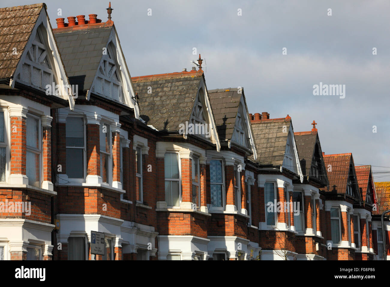 UK, London, Harlesden, Terrenced Housing in a residential street.  Photo: ©  Zute Lightfoot - Stock Image